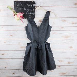 ASOS Petite black side cutout mini skater dress